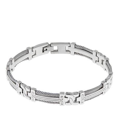 Men's Stainless Steel Rope and Scroll Design Bracelet