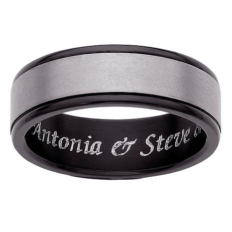 Men's Titanium Two-Tone Engravable Band