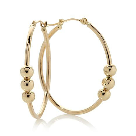 Michael Anthony Jewelry 10K Yellow Gold 3 Bead Tube Hoop Earrings