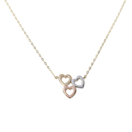 Michael Anthony® 10K Gold Tri-Tone 3-Heart Necklace