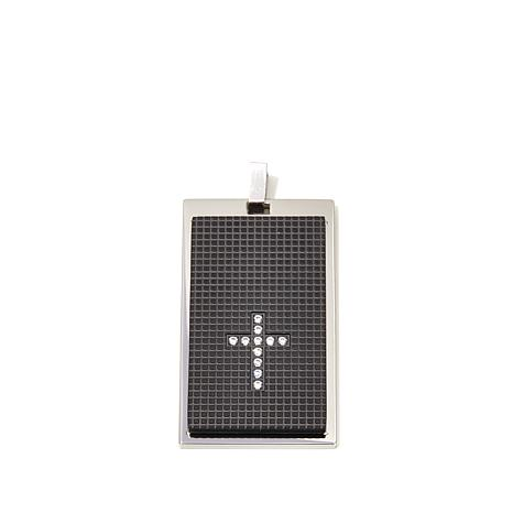 Michael Anthony® Black IP Crystal Cross Pendant