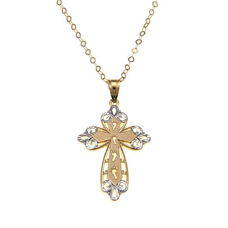 Michael Anthony Jewelry® 10K 2-Tone Footprint Cross Pendant with Chain