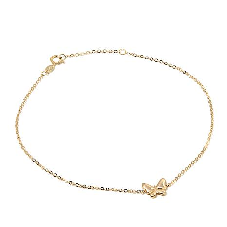 "Michael Anthony Jewelry® 10K Gold 9"" Butterfly Anklet"