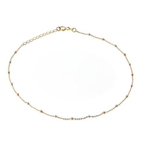Michael Anthony Jewelry® 10K Tri-Color Bead Chain Anklet