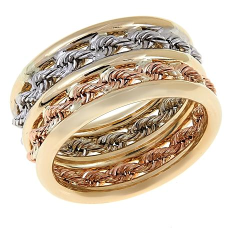 Michael Anthony Jewelry® 10K Tri-Color Double Rope Chain Ring