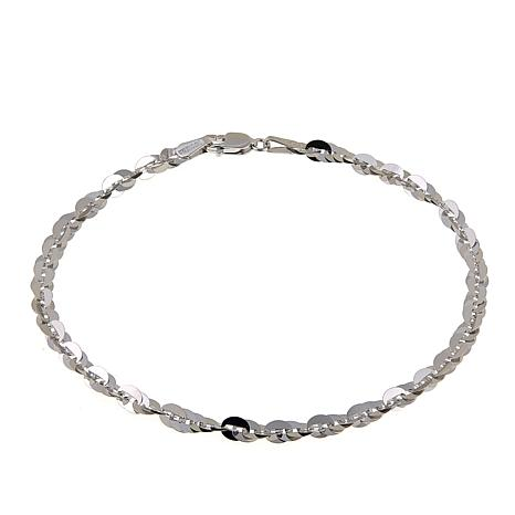 "Michael Anthony Jewelry® 10K White Gold 3.5mm Cleo Link 7.5"" Bracelet"