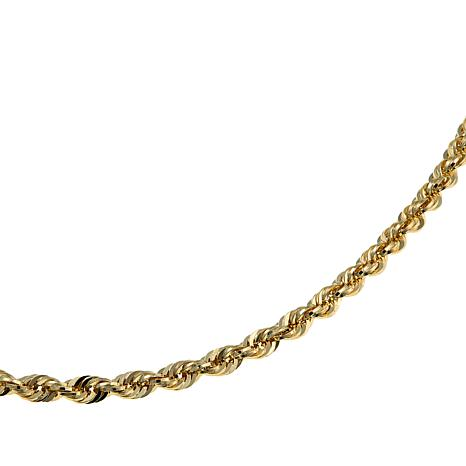 """Michael Anthony Jewelry® 14K 4mm Glitter Rope Chain Necklace - 24"""""""