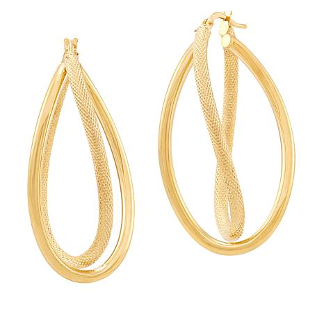 Michael Anthony Jewelry® 14K Crossover Twisted Oval Hoop Earrings