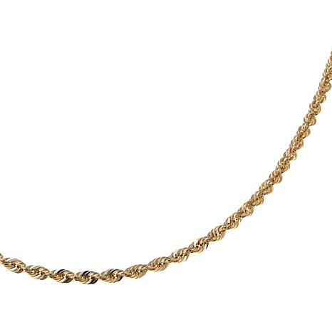 "Michael Anthony Jewelry® 14K Gold 2.5mm Rope Chain 16"" Necklace"