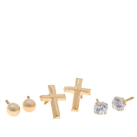 Michael Anthony Jewelry® 14K Kids 3-pair Stud Earring Set