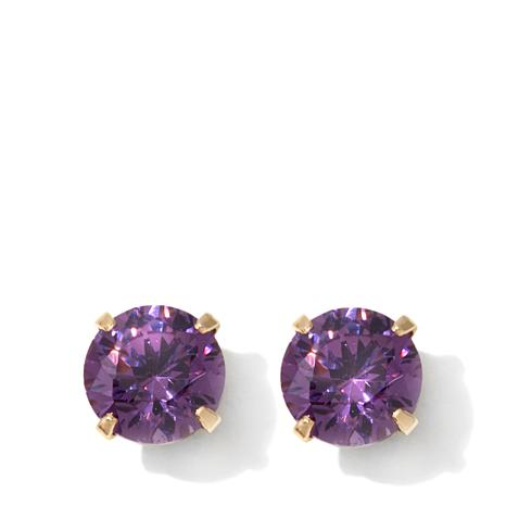 Michael Anthony Jewelry® 14K Kids Amethyst-Color CZ Stud Earrings