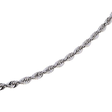 """Michael Anthony Jewelry® 2.5mm 16"""" Silver Rope Chain"""
