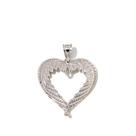 michael anthony jewelry angel wing heart sterling silver pendant rh hsn com angel wing heart necklace angel wing heart charm