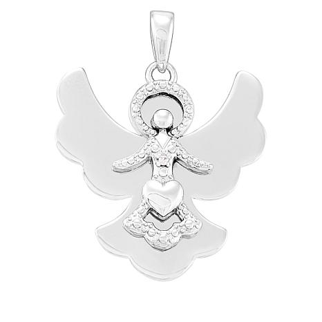 Michael Anthony Jewelry® Sterling Silver CZ Angel Pendant