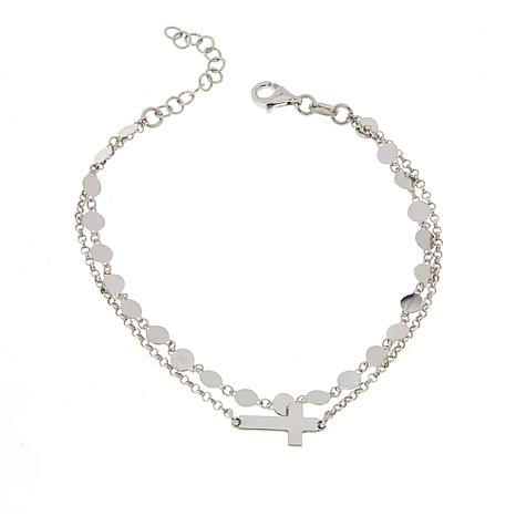 Michael Anthony Jewelry® Sterling Silver Disc Chain Cross Bracelet