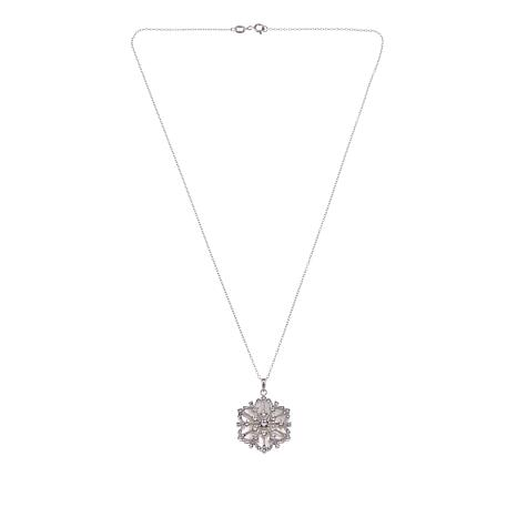 "Michael Anthony Jewelry® Swirl Snowflake Pendant with 18"" Chain"