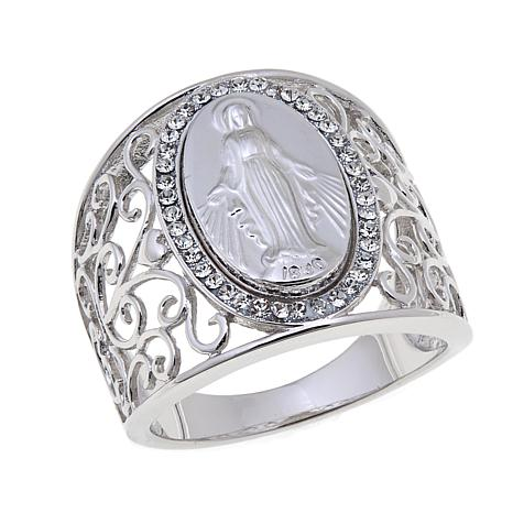 Michael Anthony Jewelry Virgin Mary Crystal Frame Ring