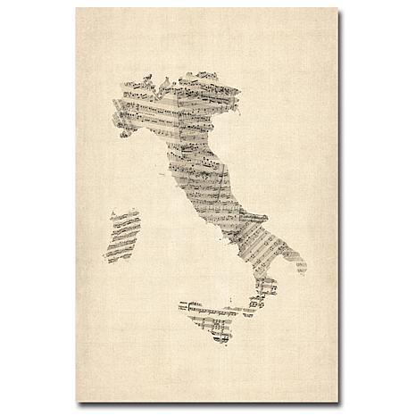 "Michael Tompsett ""Italy-Old Sheet Music Map"" - 22""x32"""