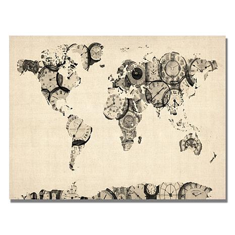 "Michael Tompsett ""Old Clocks World Map"" - 18""x 24"""
