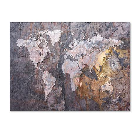 "Michael Tompsett ""World Map - Rock"" Canvas - 18"" x 24"""