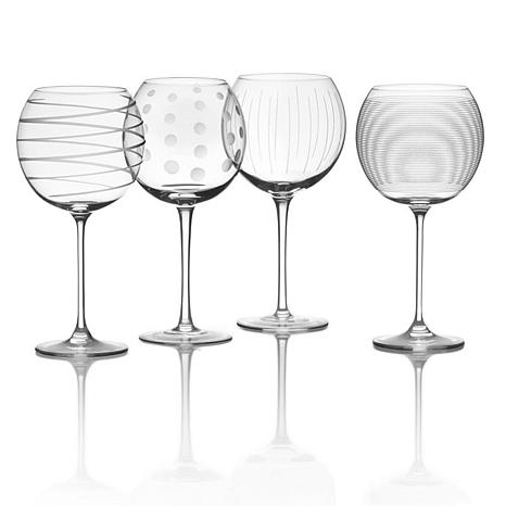 Mikasa Cheers Set of 4 Etched-Crystal Balloon Glasses