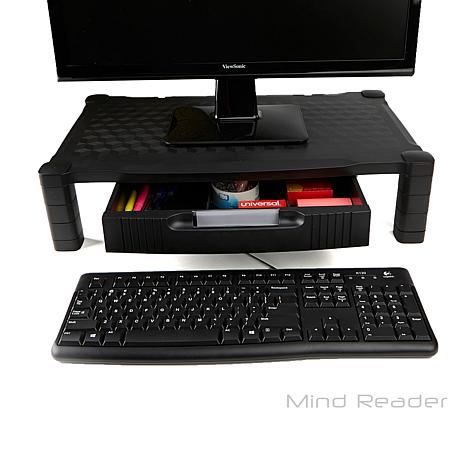 Mind Reader Extra Wide Plastic Monitor Stand