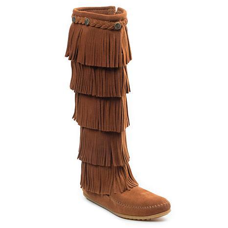 Minnetonka Suede 5-Layer Fringe Tall Boot
