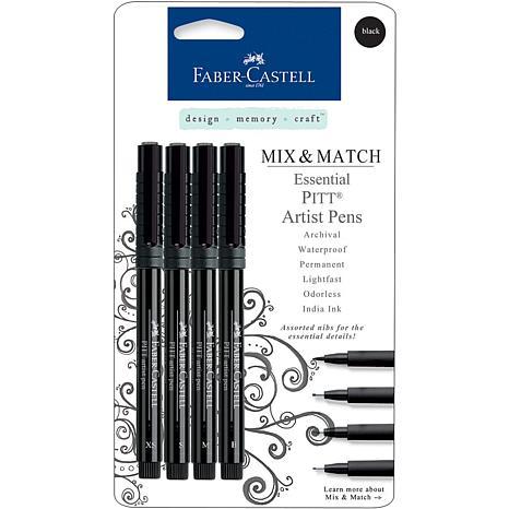 Mix and Match Artist Pens 4pk Black Essential