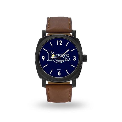 "MLB Sparo ""Knight"" Faux Leather Watch - Rays"