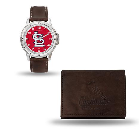 MLB Team Logo Watch & Wallet Set in Brown - Cardinals