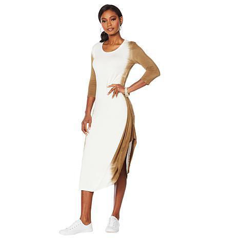 ModernSoul® French Terry 3/4-Sleeve Gathered Dress