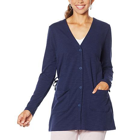 ModernSoul® Gathered-Back Cardigan with Pockets