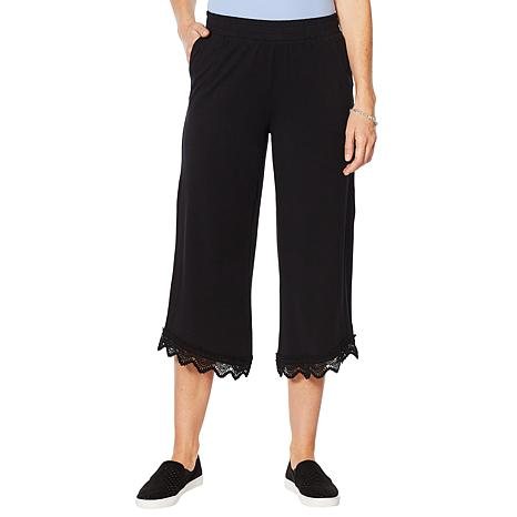 ModernSoul® Knit Crop Pant with Lace Trim