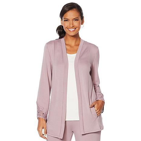 ModernSoul® Luxe French Terry Lace-Trim Cardigan