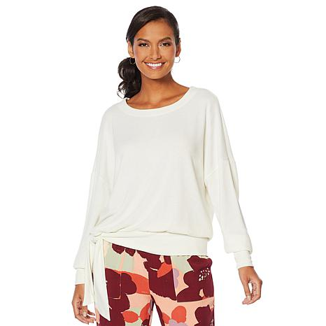 ModernSoul® Soft Touch Hacci Pullover Top with Tie Waist