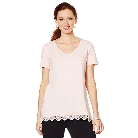 ModernSoul® V-Neck Tee with Lace Handkerchief Hem
