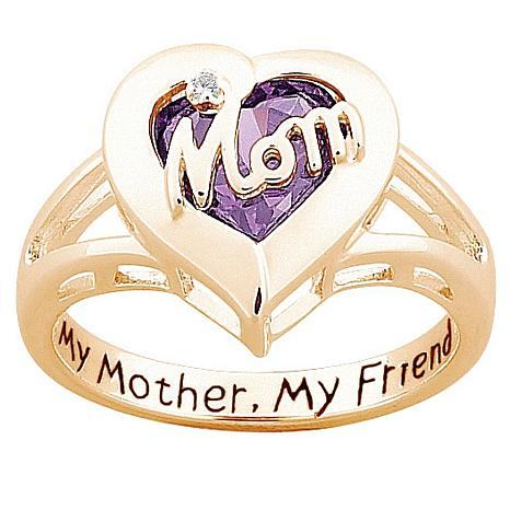 """MOM"" Simulated Birthstone ""Heart"" Ring"