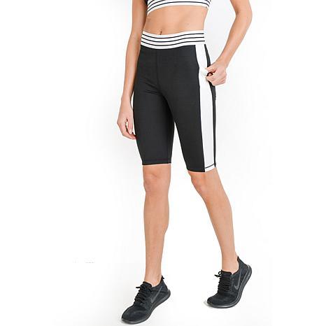 Mono B Black Highwaist Colorblock Striped Band Active Shorts