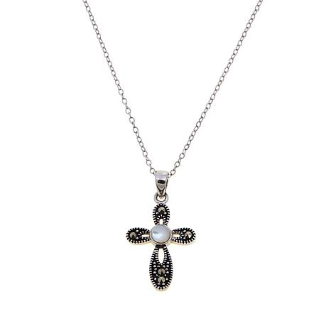 Mother-of-Pearl and Marcasite Cross Pendant with Chain