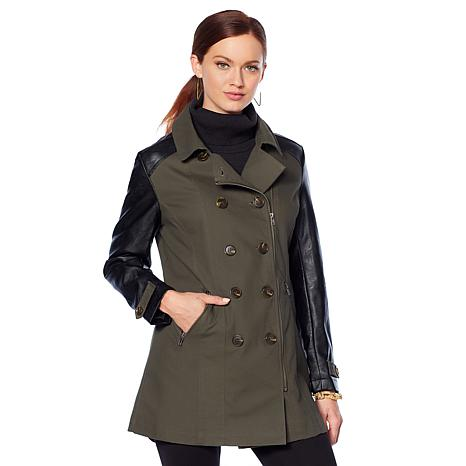 f563681d82 Motto Military Trench Coat with Faux Leather Trim - 8738858