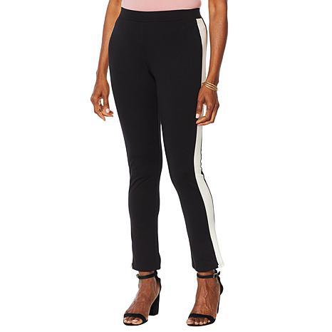 Motto Ponte Knit Pull-On Ankle Pant - Tuxedo Stripe