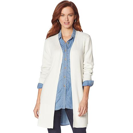 Motto Rib-Knit Cardigan with Side Button Detail