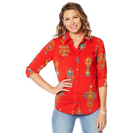 Motto Stretch Chiffon Printed Button-Front Shirt