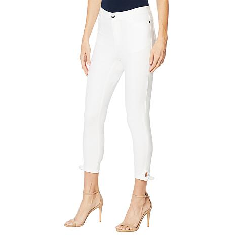 Motto Stretch Sateen 5-Pocket Tie-Hem Cropped Pant