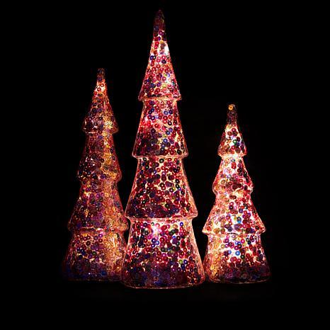 Winter Lane Set of 3 Lighted Glitter or Sequin Glass Christmas Trees