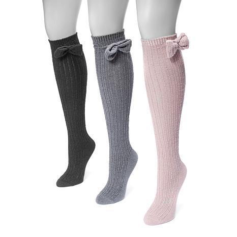 MUK LUKS 3-pair Women's Pointelle Bow Knee-High Socks