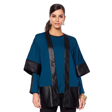 N Natori Double Knit Topper with Faux Leather Trim