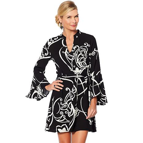 N Natori Printed Crepe Dress with Sash