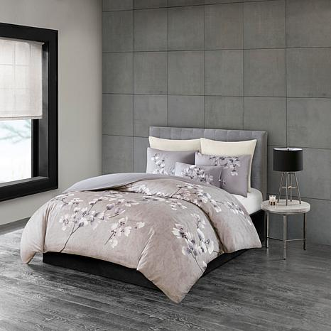 N Natori Sakura Blossom 3-piece Cotton Sateen Full/Queen Comforter Set