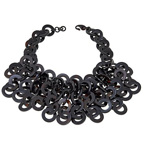"Natural Beauties Black Buffalo Multistrand 20-1/2"" Fringe Necklace"
